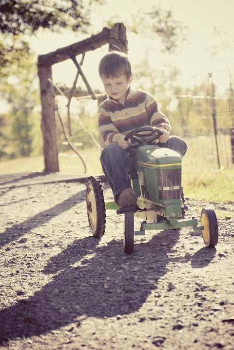 boy on tractor Charlotte NC Children Portrait Photography