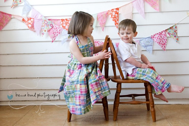 sibling portrait for children in Charlotte NC by photographer Becca Bond, clothing by Daffodils and Daisies