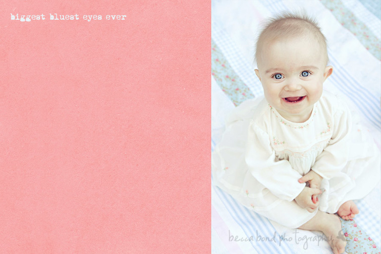 Sweet blue eyed baby on an antique quilt