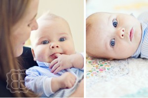 baby boy smiles for photographer in Charlotte NC portraits