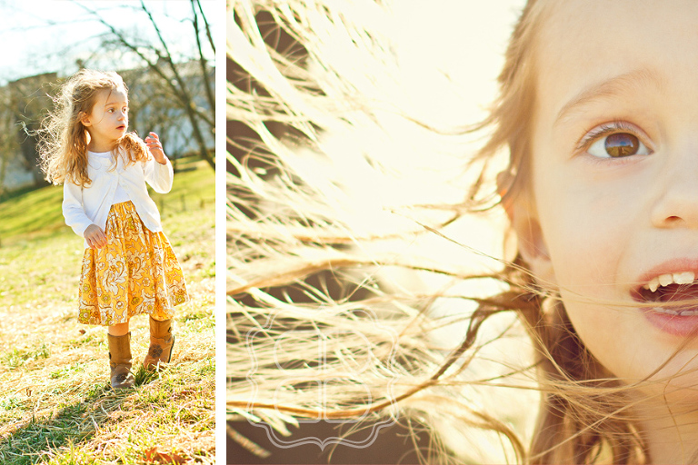 vintage dress on a child photographed in a field