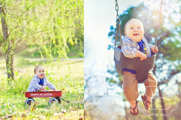 Picture of a Baby boy on swing and vintage wagon in Freedom Park of Charlotte by photographer Becca Bond.
