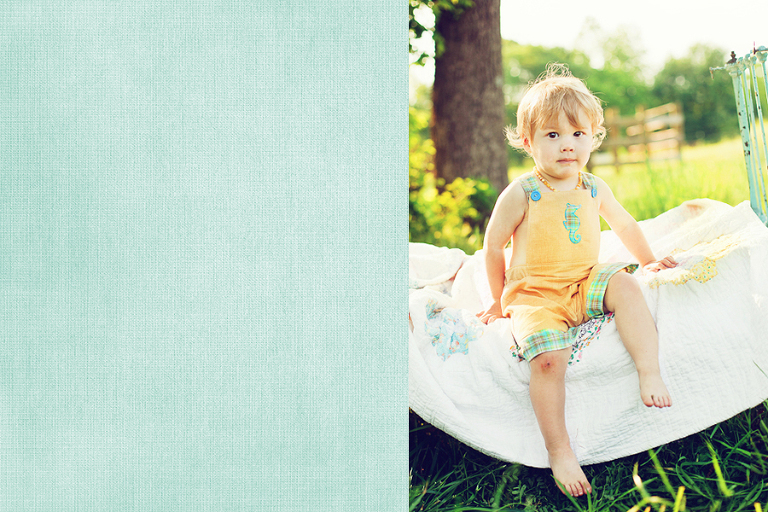 Toddler on vintage iron bed
