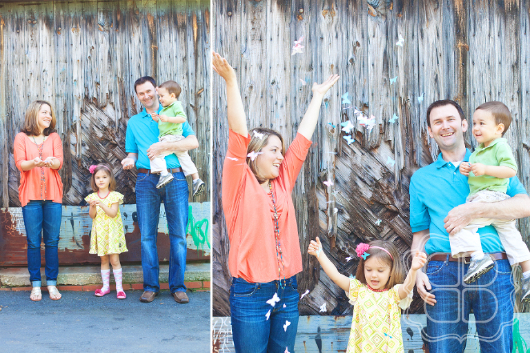 Charlotte family photo throwing confetti