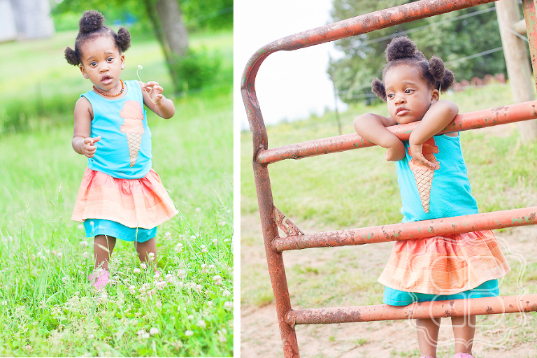 Child with clover in boutique dress