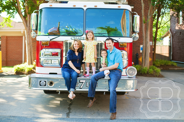 Family photo with firetruck