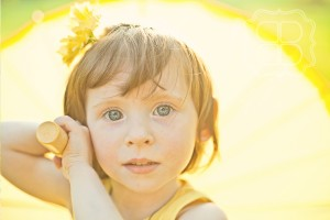 Whimsical picture of a child with blue eyes