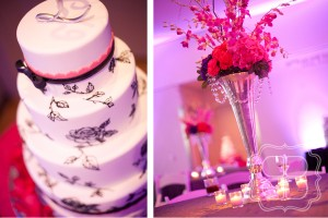Fuschia wedding reception at the Mint Museum in Charlotte NC.