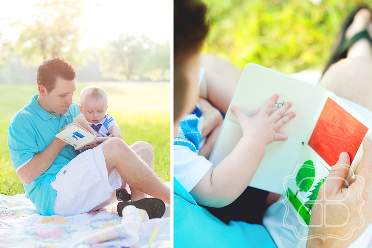 Baby with his father reading an Eric Carle book