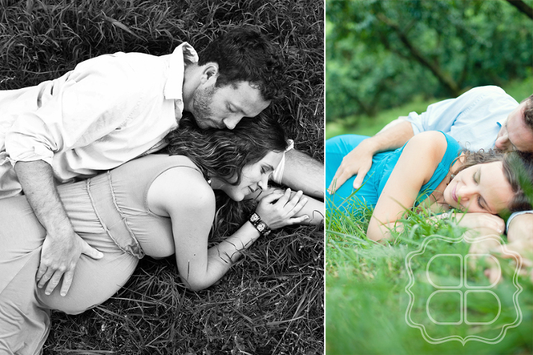 Maternity photos taken at a peach orchard