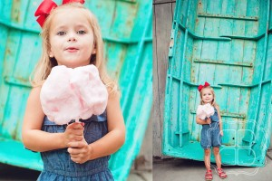Child with vintage teal boat and cotton candy by children's photographer