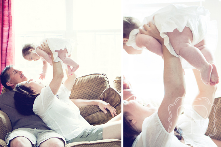 Photo portrait of a playful family and their baby girl
