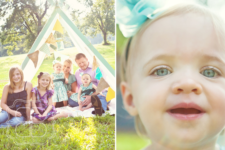 Charlotte family photo under a handmade tent