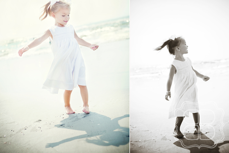 Child dances and twirls on a beach photo