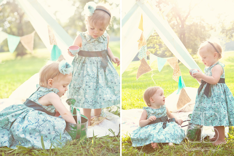 Two twin babies have a tea party