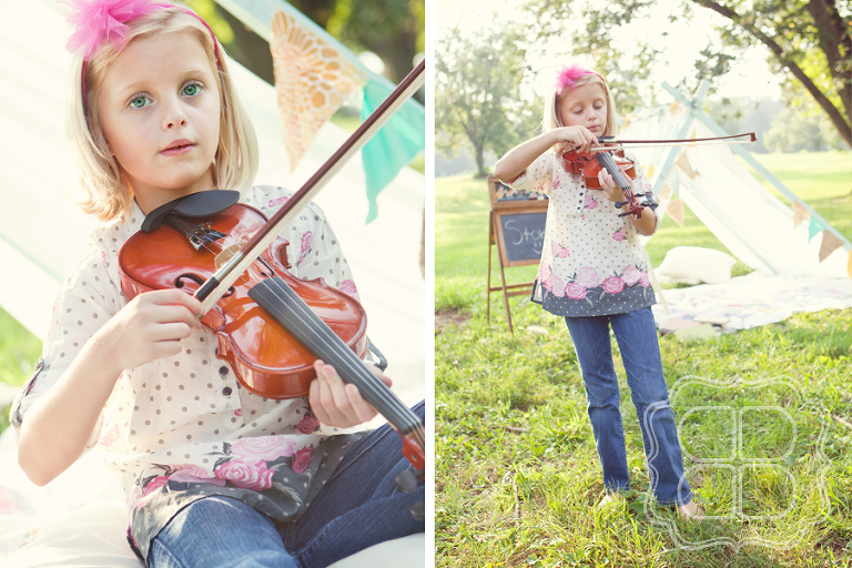 Child Violin player, outside in vintage processed light