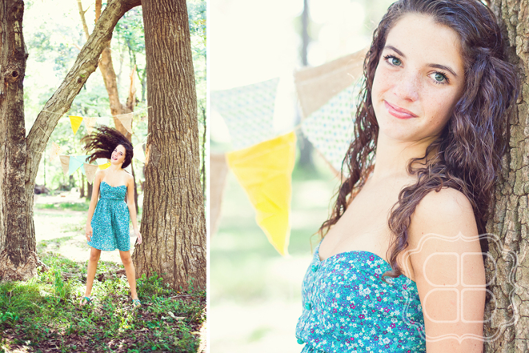 Photo of a lovely girl with a vintage bunting banner