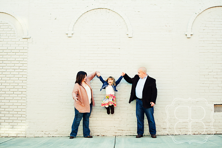 Family jumps with her parents