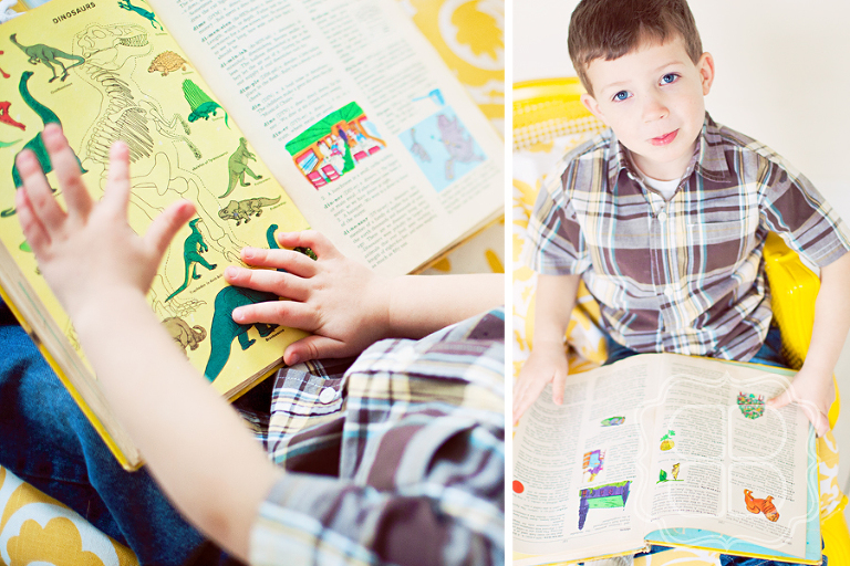 Charlotte child and his dino book photo