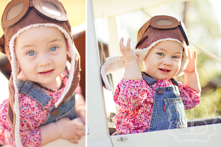 Baby in vintage aviator pilot's hat and goggles