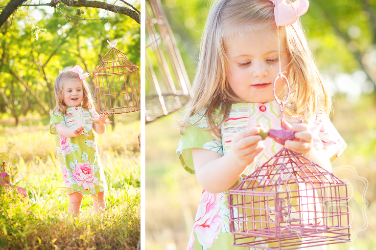 Charlotte chid photo with vintage colorful birdcages