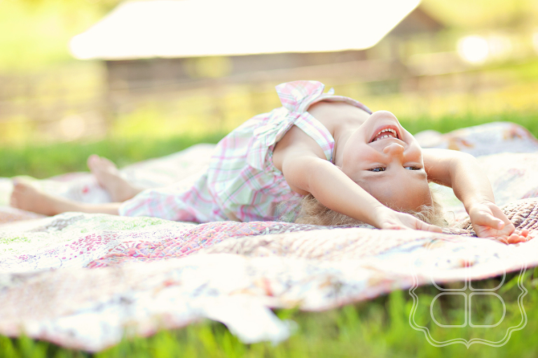 happy child on a quilt