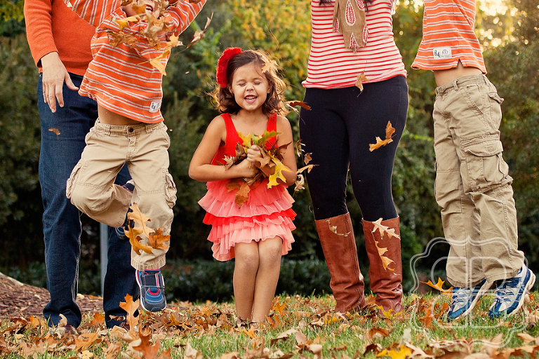 Tossing leaves with Charlotte family