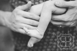 Tiny baby feet in black and white