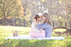 Loving moment for mom and daughter