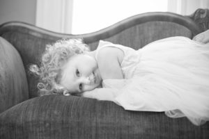 Black and white portrait of a pretty toddler girl