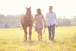 Outdoor photo shoot with a horse