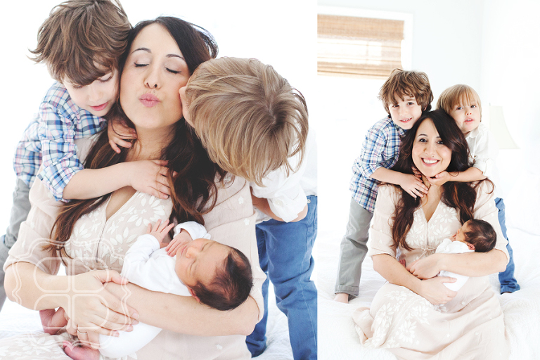 New mother gets kisses from her boys